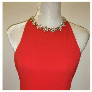 Lipstick red formal gown/rhinestone collar. NWT 10